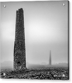 A Twin Cornish Mine Chimneys Acrylic Print by John Farnan