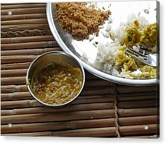 A Typical Plate Of Indian Rajasthani Food On A Bamboo Table Acrylic Print by Ashish Agarwal