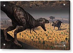 A Tyrannosaurus Rex Spots Two Passing Acrylic Print by Mark Stevenson