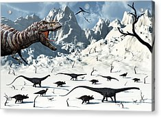 A  Tyrannosaurus Rex Stalks A Mixed Acrylic Print by Mark Stevenson
