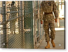 A U.s. Army Soldier Stands Guard Acrylic Print by Everett