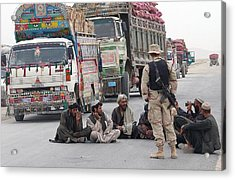 A U.s. Army Soldier With Afghani Men Acrylic Print by Everett