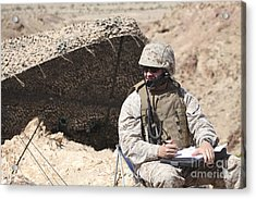 A U.s. Marine Communicates With Close Acrylic Print by Stocktrek Images