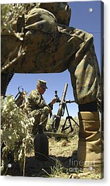 A U.s. Marine Mortarman Trains On An Acrylic Print by Stocktrek Images