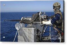 A U.s. Navy Gunners Mate Firing Acrylic Print by Stocktrek Images