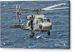 A Us Navy Sh-60f Seahawk Flying Acrylic Print by Giovanni Colla