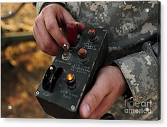 A U.s. Soldier Hits The Button Acrylic Print by Stocktrek Images
