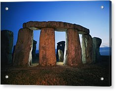 A View Of Stonehenge Silhouetted Acrylic Print by Richard Nowitz