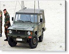 A Vw Iltis Jeep Of A Unit Of Belgian Acrylic Print by Luc De Jaeger