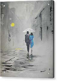 Acrylic Print featuring the painting A Walk In The Rain by Raymond Doward