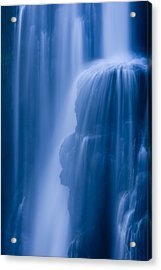 A Waterfall Splashes Off Of A Large Acrylic Print by Ralph Lee Hopkins