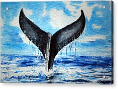 Acrylic Print featuring the painting A Whales Tail by Lynn Hughes