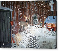 A Whitetail Buck In Back Of Cabin In The Snow Acrylic Print