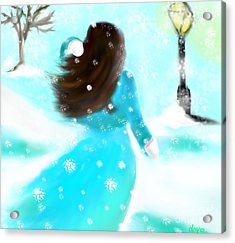 Acrylic Print featuring the painting A Winter Day by Lori  Lovetere