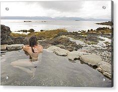 A Woman Enjoys A Hot Spring Acrylic Print by Taylor S. Kennedy