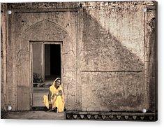 A Woman In Yellow Dress Acrylic Print by Mostafa Moftah