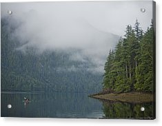 A Woman Kayaks Along A Quiet Inlet Acrylic Print by Taylor S. Kennedy