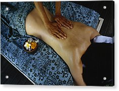 A Woman Receives A Traditional Balinese Acrylic Print by Justin Guariglia