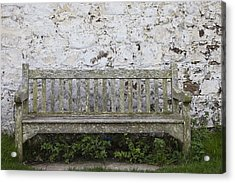 A Wooden Bench With Peeling Paint Acrylic Print by John Short