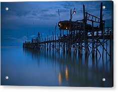 A Wooden Pier With Lights On It At Acrylic Print by David DuChemin