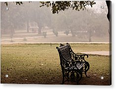 A Wrought Iron Black Metal Bench Under A Tree In The Qutub Minar Compound Acrylic Print by Ashish Agarwal