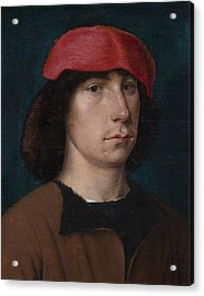 A Young Man In A Red Cap Acrylic Print by Michiel Sittow