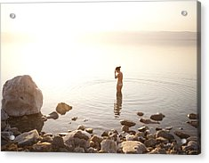 A Young Woman Wades Into The Dead Sea Acrylic Print by Taylor S. Kennedy