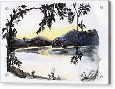 Aare Am Abend Acrylic Print by Jana Goode