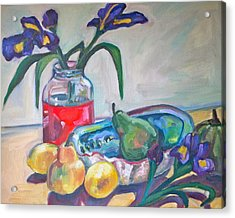 Abalone Shell Fruit And Flowers Acrylic Print by Michelle Grove