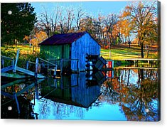 Abandoned Boat House Acrylic Print by Carrie OBrien Sibley