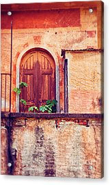 Abandoned Building Door With Leaves Acrylic Print by Silvia Ganora