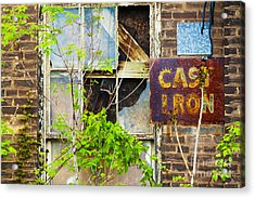 Abandoned Factory With Rusted Metal Sign Acrylic Print by Gordon Wood