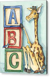 Abc Blocks - Giraffe Acrylic Print by Annie Laurie