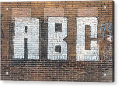 Acrylic Print featuring the pyrography Abc On Wall by Hans Engbers