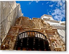 Above The Front Entry San Xavier Mission Acrylic Print by Jon Berghoff