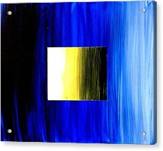 Abstract 3d Golden Blue  Square Acrylic Print by Teo Alfonso