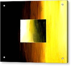 Abstract 3d Golden Square Acrylic Print by Teo Alfonso