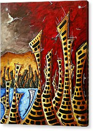 Abstract Art Contemporary Coastal Cityscape 3 Of 3 Capturing The Heart Of The City II By Madart Acrylic Print by Megan Duncanson