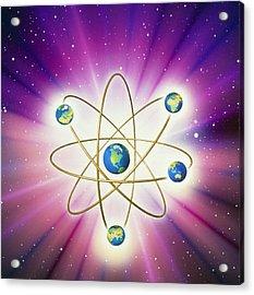 Abstract Artwork Of Earth Arranged As An Atom Acrylic Print by Mehau Kulyk