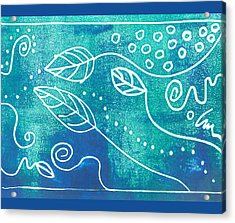 Abstract Block Print In Blue Acrylic Print by Ann Powell