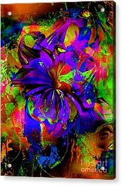 Abstract Blue And Red Acrylic Print by Doris Wood