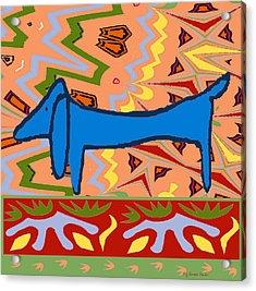 Abstract Blue Dachshund Acrylic Print by Jerry Schwehm