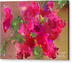 Abstract Bougainvillea Painting Floral Wall Art Acrylic Print by Judy Filarecki