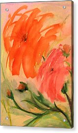 Acrylic Print featuring the painting Abstract Dahlia's by Alethea McKee