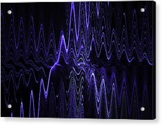 Abstract Digital Blue Waves Fractal Image Black Computer Art Acrylic Print