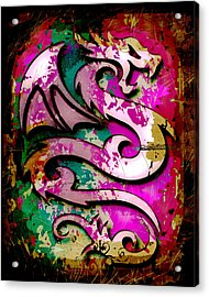 Abstract Dragon Acrylic Print by David G Paul