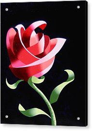 Acrylic Print featuring the painting Abstract Geometric Cubist Rose Oil Painting 1 by Mark Webster