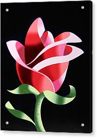 Acrylic Print featuring the painting Abstract Geometric Cubist Rose Oil Painting 2 by Mark Webster