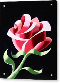 Acrylic Print featuring the painting Abstract Geometric Cubist Rose Oil Painting 3 by Mark Webster