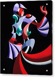 Abstract Geometric Futurist Figurative Oil Painting Acrylic Print